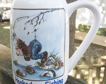 CLEARANCE....Clay Design Fishing Stein, Hooked On Fishing, White Background, Ceramic, Gary Patterson Cartoon, Collectible Fishing Theme