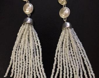 Pearl bead chandelier earrings