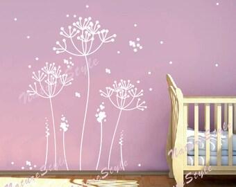 Dandelion wall decal flower nursery room Vinyl wall decal floral tree wall art sticker decal Nursery wall mural children-Dandelion Flowers