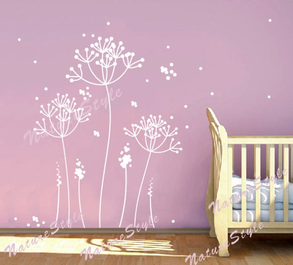& Dandelion wall decal flower nursery room Vinyl wall decal