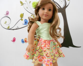 Doll clothes dress Lime tangerine colors fits 18 in like American Girl hand made