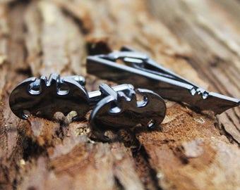 gun black bat tie clip&cuff links set man gift
