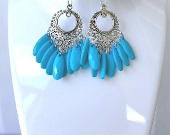 Tribal Statement Earrings/Silver Earrings/Tribal Earrings/Ethnic Earrings/Boho Earrings/Gypsy Earring/Tribal Jewelry/Earring/Indian Earring