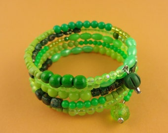 Green Memory Wire Bangle - Stacked beaded coils bracelet with mixed green beads - boho gypsy wrap around layered look - pretty lush vibrant