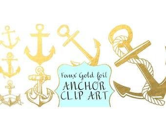 ANCHOR clip art, gold foil, anchor digital clip art, nautical, coastal, clip art, Instant download , clip art gold anchors, PNG anchors