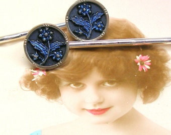 Antique BUTTON hair pins, Victorian DAISIES on silver bobby pins, hair grips. Present gift.