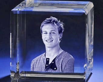 Personalized 3D Laser Photo Crystal Cube, 3D Pciture Etching  in Glass, Personlized Laser Crystal by Goodcount A1804