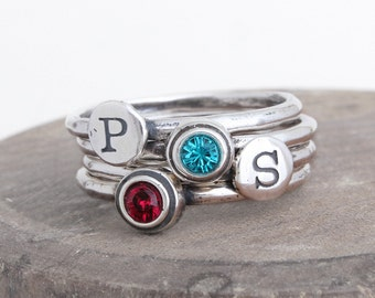 Stacking Initial and Stack Birthstone Rings. Set of 4 Stackable Mothers Rings in Sterling Silver by Toozy. Perfect Gift for Mom of two!