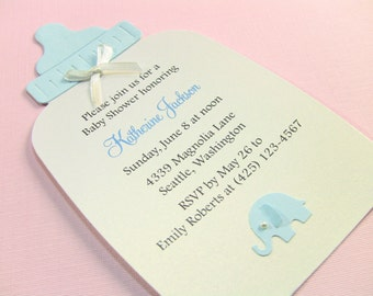 25 baby elephant baby shower invites baby onesie shower customize any color 10 baby bottle baby shower invitations or new baby announcement cards baby boy blue elephant filmwisefo