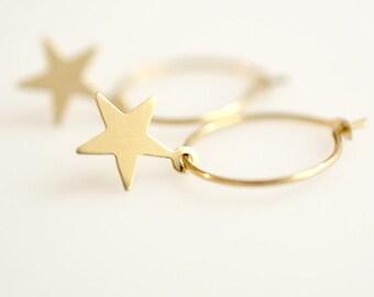 Silver Star Earring/ Gold Star Earring/ Hoop Earring With Star Charm/ Star Hoop Earrings, MC-E1002