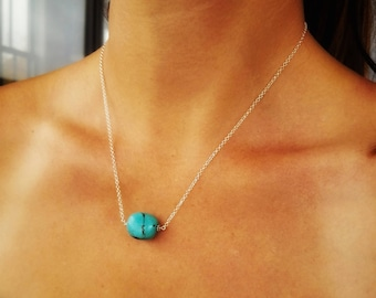 Turquoise Necklace Sterling Silver - Layered Jewelry - Layered Turquoise Necklace - Turquoise Necklace - Chunky Turquoise Necklace