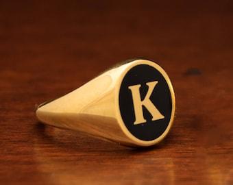 CUSTOM letter ring, Signet Ring, Man Custom Ring, Monogram Ring, Man Gold ring, Man Initial Ring, Pinky Ring, Husband Gift, Enamel Gold Ring