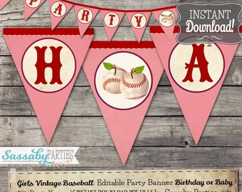 Girls Baseball Rockford Peaches Party Banner / INSTANT DOWNLOAD / Editable & Printable / Birthday /Party / Baby Shower / Decor / Bunting