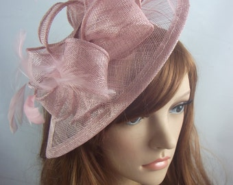 Heather Pink Teardrop Sinamay Fascinator with Feathers - Wedding Races Special Occasion Hat