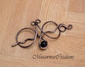 Antique copper hair bun slide ,antique copper hair bun holder,polished copper Hair slide, Celtic Hair Bun Holder,