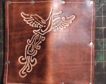Leather checkbook cover hand carved and handmade