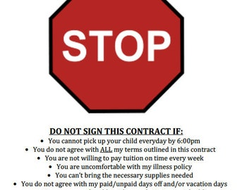 Childcare Contract Terms