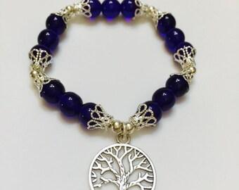 Tree of Life Cobalt Blue Glass bracelet