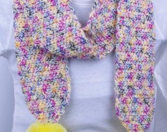 Pom Pom Scarf   Children's   Kids   Multicolour   Yellow   Winter   Crochet