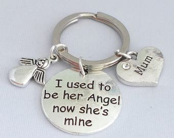 "I used to be HER Angel now SHE'S mine"" pendant on keepsake key ring or necklace."