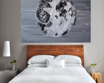 READY TO SHIP: 30x40 Original Painted Textured Lunar Full Moon Phases Night Sky Art Universe