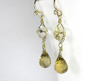 Yellow Drop Earrings Yellow Earrings Citrine and Quartz Earrings Gold Filled