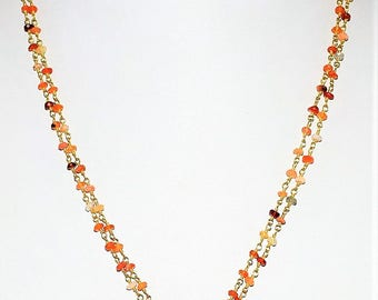 "Beautiful Natural Mexican Fire Opal Gemstone Beaded Gold Plated Necklace 18"" Length, For Valentine Gift And SALE"