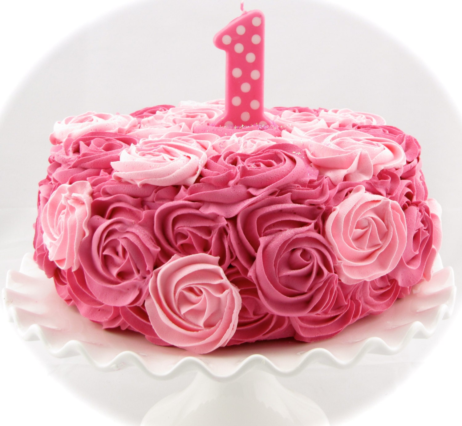 Pink 1st Birthday Polka Dot Candle: Fake Rosette Cake Hot Pink & Pink Frosting Color Combo With