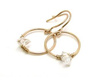 Herkimer diamond earrings, small gold hoop earrings, dangling diamond hoops, minimalist April birthstone jewelry, boho gold earring
