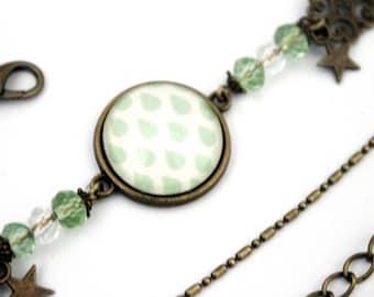 "Bohemian headband ""drops green water""-headband retro vintage glass brass bronze"