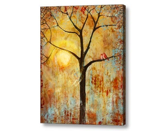 Gift for a Couple, Love Birds, 1st Anniversary Gift, Wedding Gift, Tree of Life, Canvas Art Print, Rustic Wedding, Rustic Wall Decor