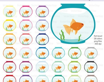 Goldfish Bowl Digital Clipart Fish Bowl Digital Clipart - Instant download PNG files