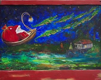 CAJUN NIGHT Before CHRISTMAS original painting *Papa Noel* Santa's Sleigh pulled by Alligators
