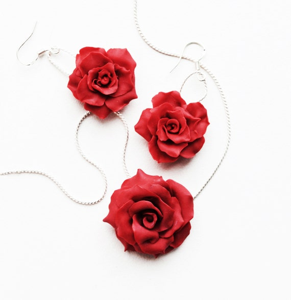 Red rose necklace flower pendant polymer clay necklace red like this item mozeypictures Choice Image