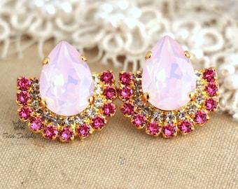 Pink Stud Earrings, Crystal Pink Earrings,Pink Opal studs,Swarovski Pink Earrings,Cotton Candy Earrings,Gift for her, Bridal Pink Earrings