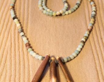 Gift for her, Amazonite necklace, Sea Urchin Sticks, Natural Gemstone, Gemstone Jewelry, Ammonite beads