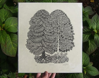 Young Pines - Woodcut Print, Woodblock Print by Tugboat Printshop, Valerie Lueth (2nd Edition)