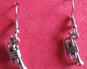 Trumpet earrings, stainless steel ear wire,Tibetan  silver, finished on both sides.