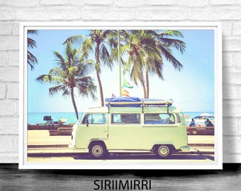 Modern Beach Decor, Modern Minimalist, Digital Download, Palm Tree Photography, Coastal Art Decor, VW Camper Print, VW Bus Decor, Retro Van