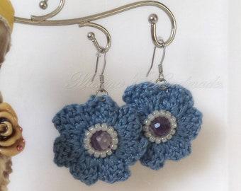 Blue Crochet earrings with Amethyst stone, Blue earrings, Semi precious stone earrings, Flower Earrings, boho dangle earrings, MHM0001EA