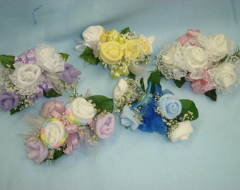 Baby Sock Corsages-Baby Shower Corsage-Baby Shower Decor-Baby Shower Sock Corsage-