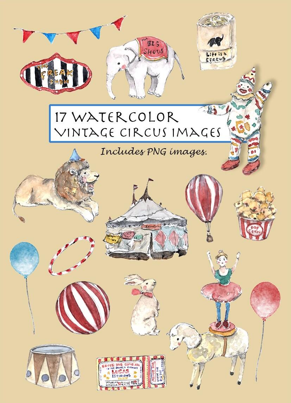 CLIP ART- Watercolor Vintage Circus Set. 17 Images. Digital Download ...