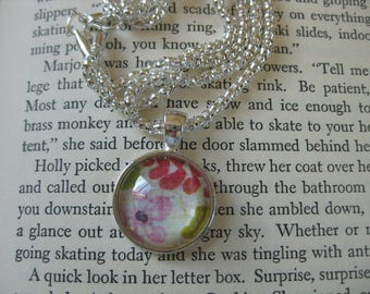 Floral pendant necklace on silver plated chain