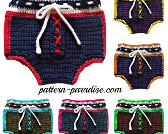 Crochet Pattern for Football Inspired  Diaper Cover Soaker, PDF12-058 INSTANT DOWNLOAD