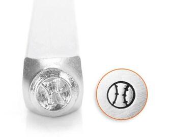 """Metal Stamp-""""Baseball"""" ImpressArt- 6mm  Design Stamp-Metal Stamping Tool-Steel Stamp-Metal Supply Chick"""