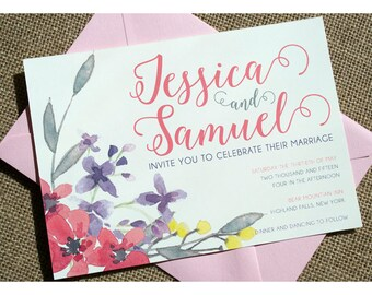 Watercolor Flowers and Calligraphy Wedding Invitation - Wedding Invite - Romantic Script Vintage Watercolor Flowers - Rustic and Vintage