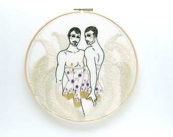 """Embroidery art """"The Beau Bell Brothers"""" / Embroidery hoop art/ Gay art"""