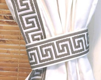Grey and White Greek Key trim curtain - different colors available