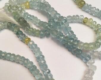 Set of 2 strands of beads aquamarine 5mm 2x35cm