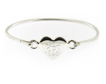 Monogrammed .925 Sterling Silver Hinged Heart Baby Bracelet Personalized Monogram